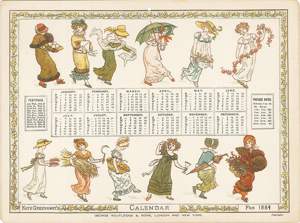 ケイト・グリーナウェイのカレンダー 1884年(3種)|(株)臨川書店の ...